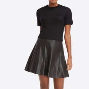 SPANX | Faux Leather Flounce Stretch Skater Skirt